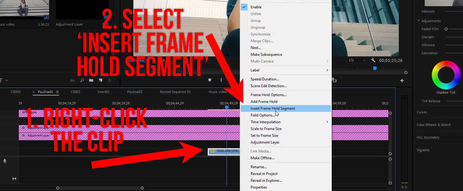 Freeze Frame in Premiere - Just right-click and select 'Insert Frame Hold Segment'
